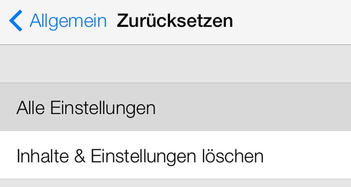 iOS7 beta Einstellungen löschen