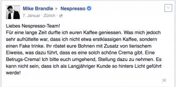 Facebook Nespresso
