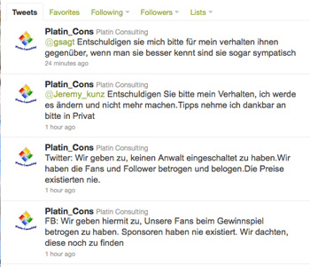 Platin Consulting entschuldigt sich ffentlich via Twitter