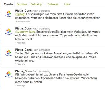 Platin Consulting entschuldigt sich öffentlich via Twitter