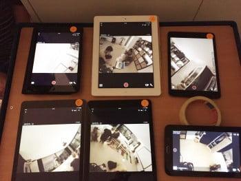 iPads als Vorschau der sechs Kameras