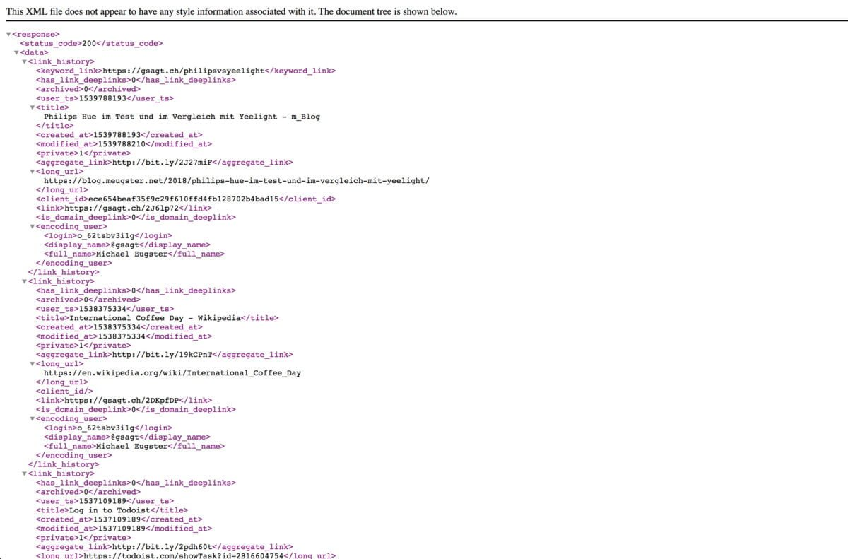 bitly XML Export