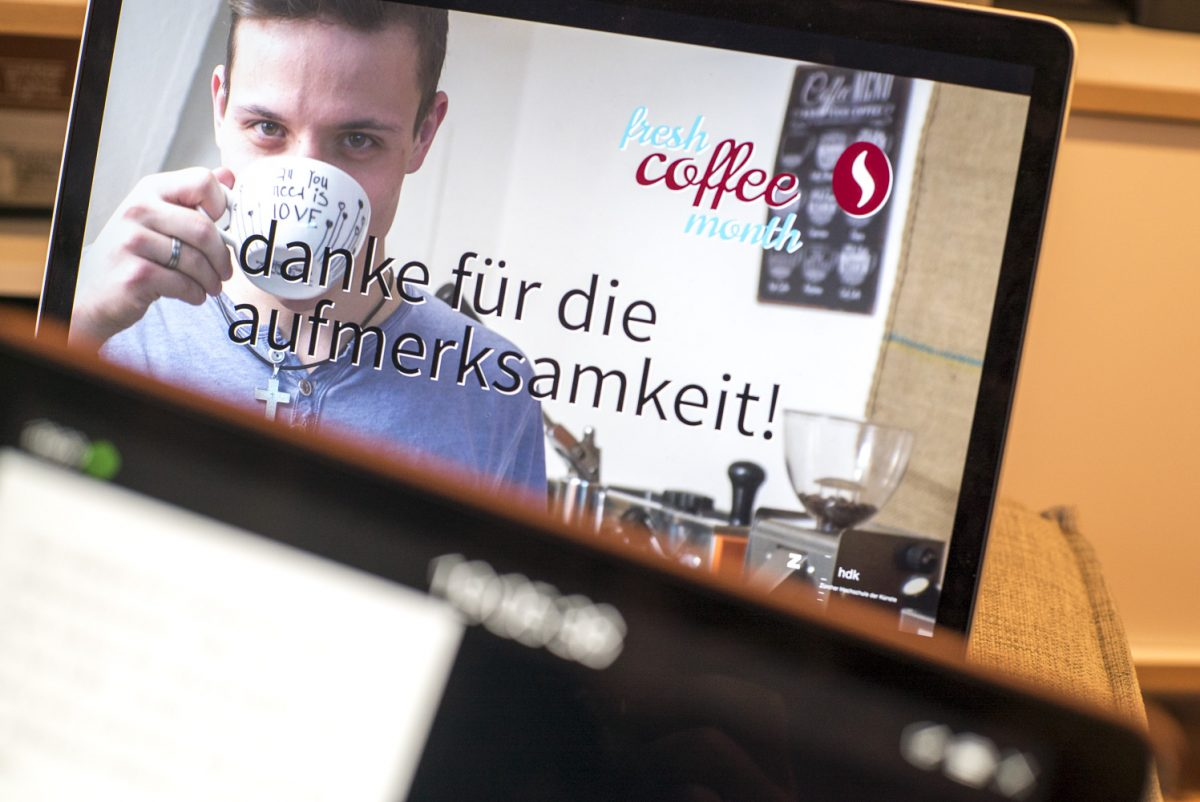 Fresh Coffee Month Abschlusspräsentation üben